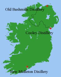 Irish whiskey map