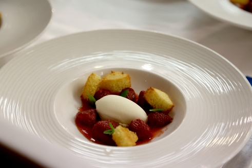 Preserved Leedstown Farm Strawberries with Toasted Brioche and Lemon Verbena Ice Cream